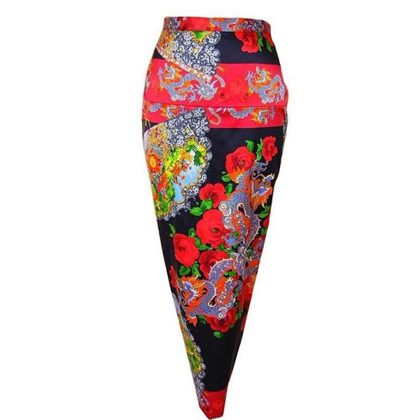 DOLCE&GABBANA skirt exotic asian print divine colours superb rear detail 40 6