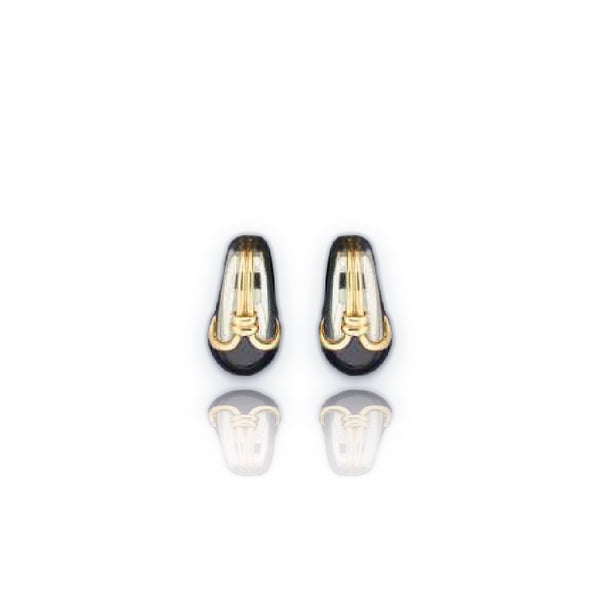Iconic Bulgari 18kt Yellow Gold & Hematite Sphere Ear Clips