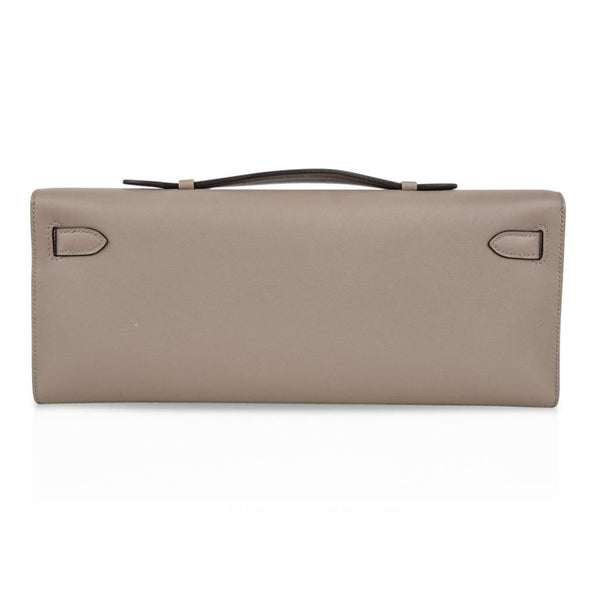 Hermes Kelly Cut Clutch Bag Gris Ashalte Gray Swift Palladium