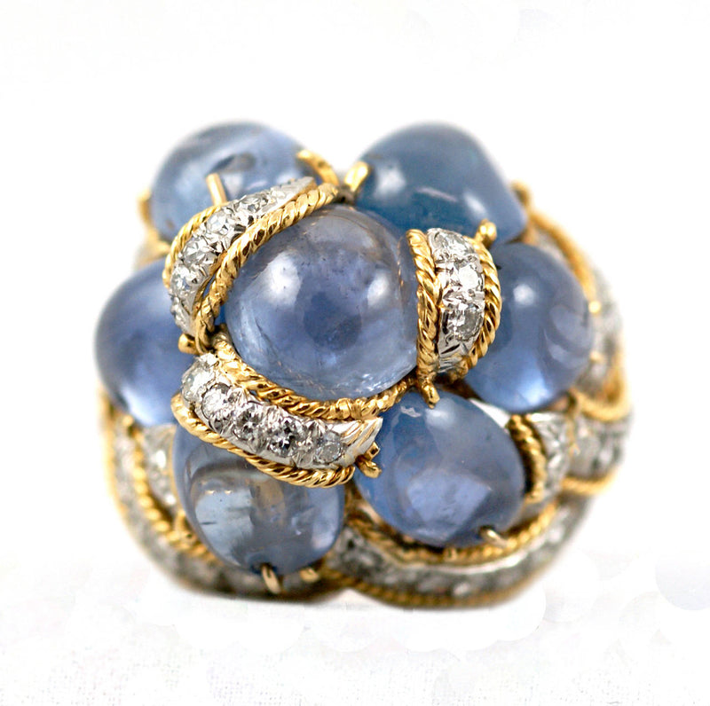 Cabochon Sapphire Diamond Gold Cocktail Ring