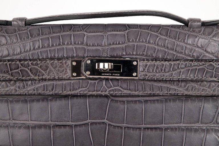 Hermes Gris Paris Grey Matte Crocodile Palladium Kelly Cut Bag
