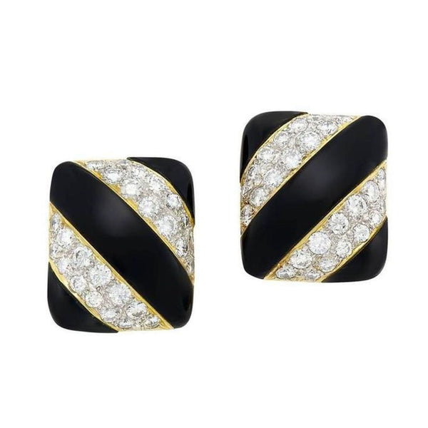 1970s Onyx Diamond Gold Earclips