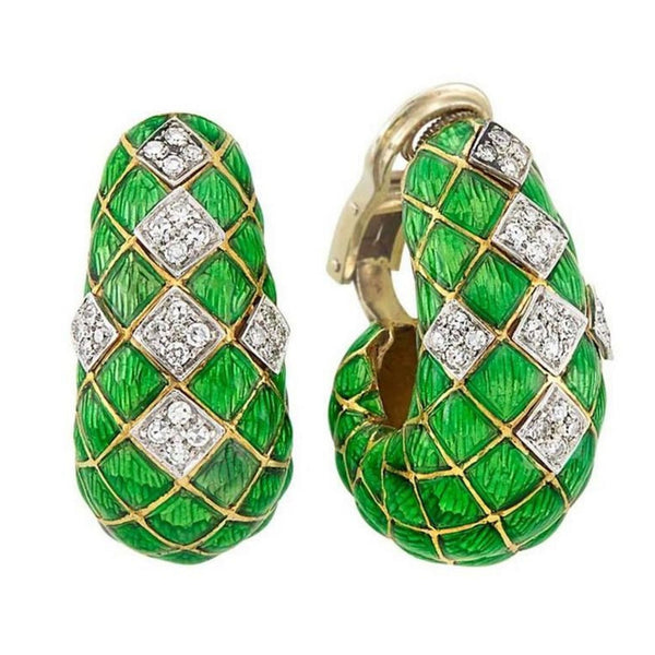 Green Enamel Diamond Gold Hoop Ear Clips