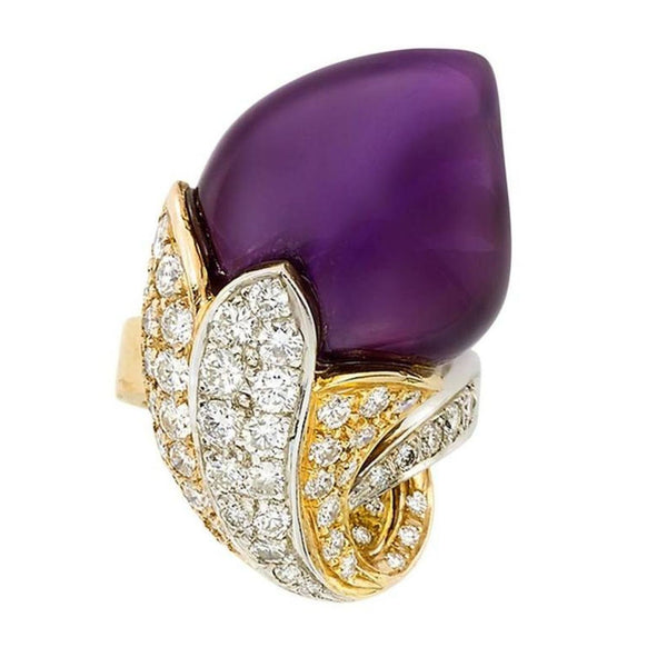 Amethyst Diamond Gold Flower Ring