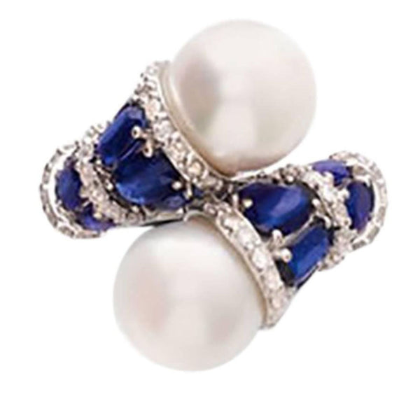 Kyanite Pearl Diamond White Gold Toi et Moi Ring