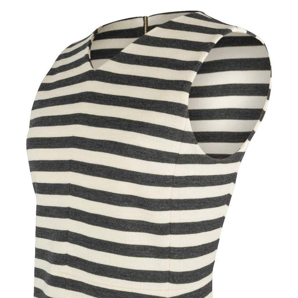 Chloe Dress Striped Charcoal and Vanilla A-Line Modern dress