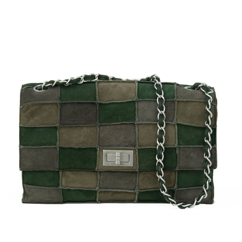 Chanel Green Patched Suede Double Flap Bag
