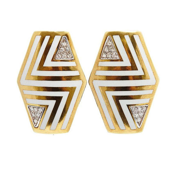 Italian Geometrical Enamel Diamond Earclips