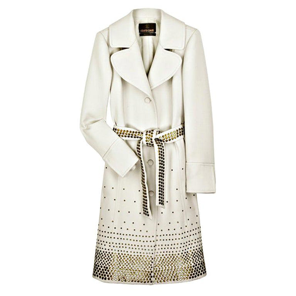 ROBERTO CAVALLI OFF WHITE EMBELLISHED WOOL TRENCH COAT Size 44