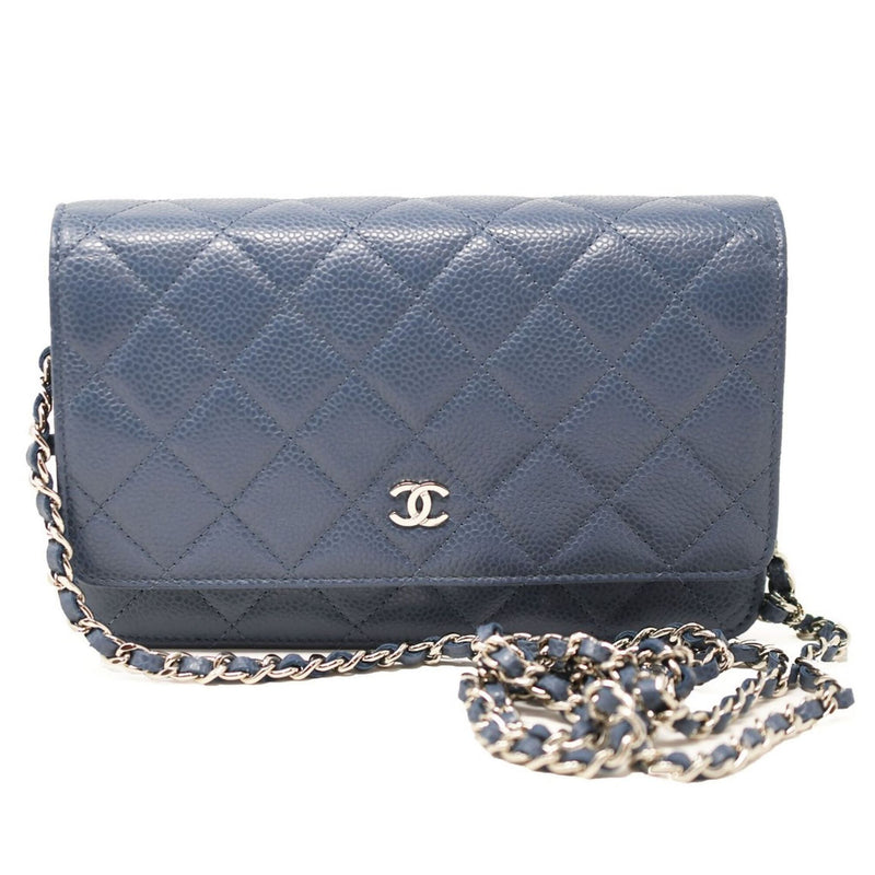 Chanel Caviar Quilted Wallet On Chain Blue