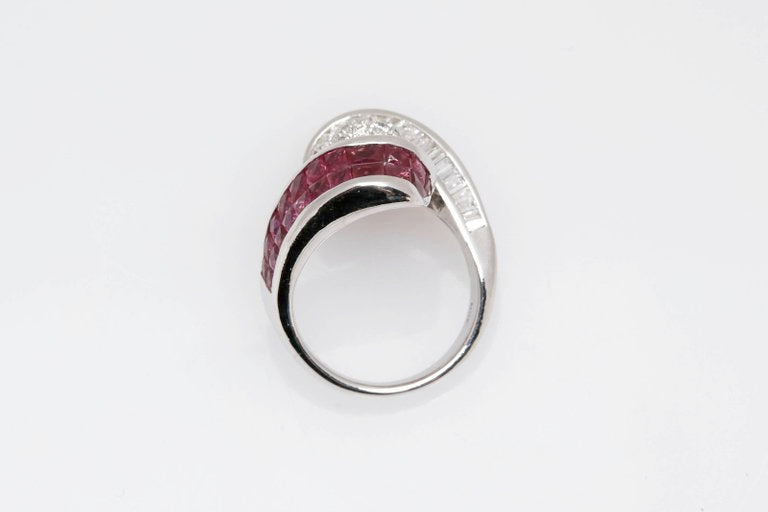 Invisible Set Ruby and Diamond Ring