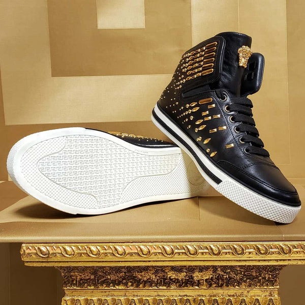 VERSACE STUDDED HIGH-TOP SNEAKERS with GOLD MEDUSA side ZIPPER