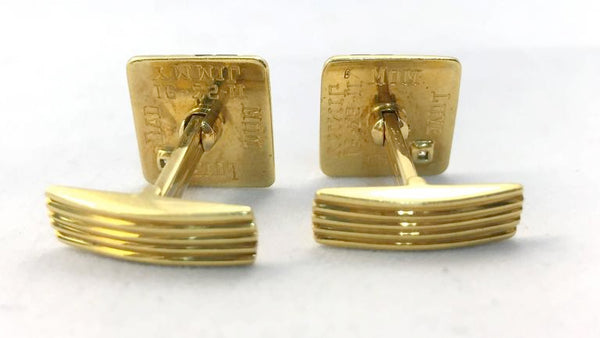 1960s Enamel Diamond Gold Cufflinks