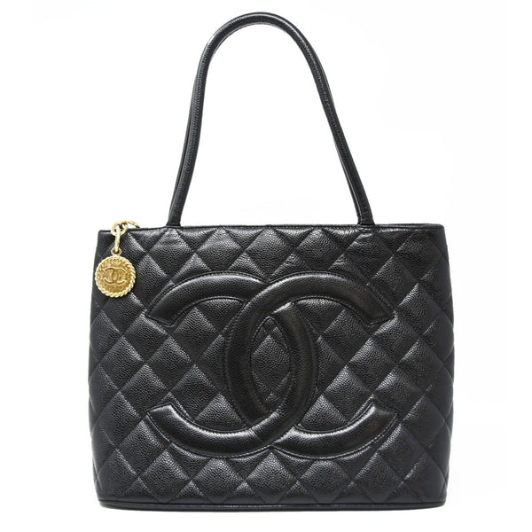 Chanel Black Caviar Gold Medallion Tote