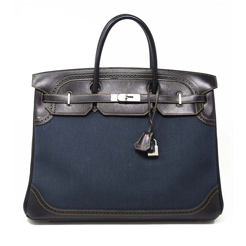Hermes Ghillies Birkin Bag 40cm Denim Toile and Brown Leather PHW