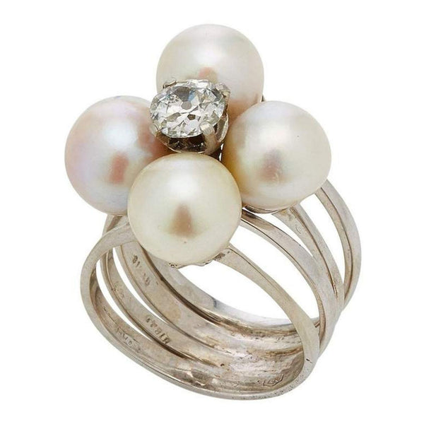 Retro Pearl Diamond Ring