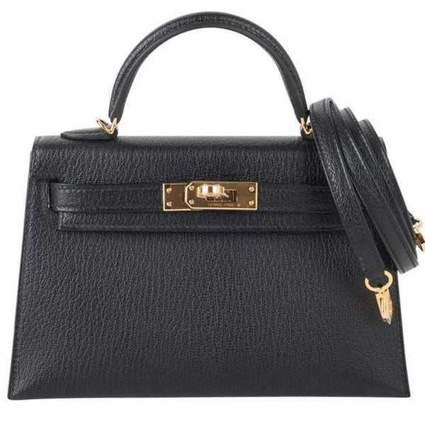 Hermes Kelly 20 Mini Kelly II Limited Edition Black Chevre Gold Hardware