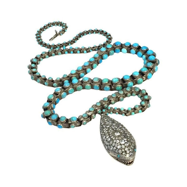 Victorian Turquoise & Diamond Snake Belt/Necklace
