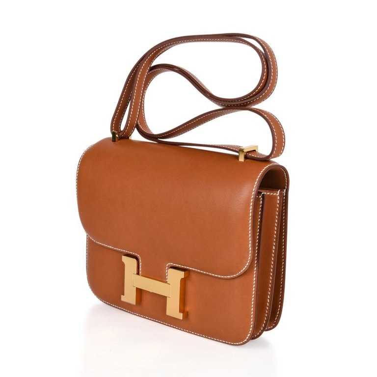 Hermes Constance Bag 18 Rare Fauve Barenia Leather Gold Hardware