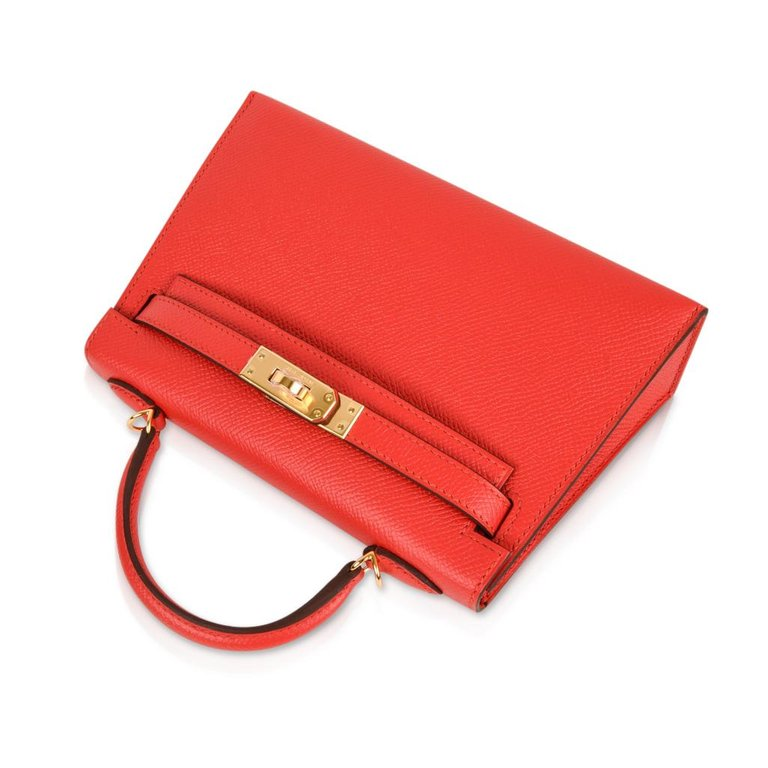 Hermes Kelly 20 Mini Kelly II Limited Edition Rouge Tomate Epsom Gold