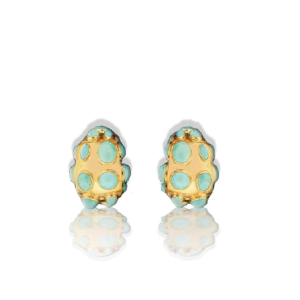 Sanz Earrings in Gold with Rounded Turquoise Embellishments