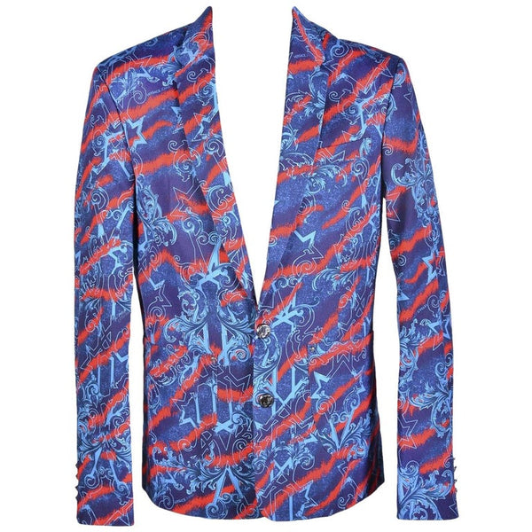 New Printed Stretch Denim Blazer Jacket by Versace Jeans Brand