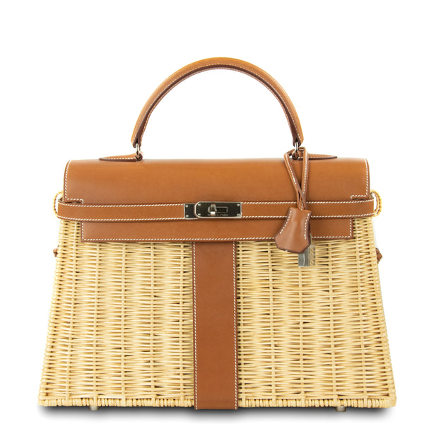 Hermes Wicker Barenia Picnic Kelly Bag 35cm PHW