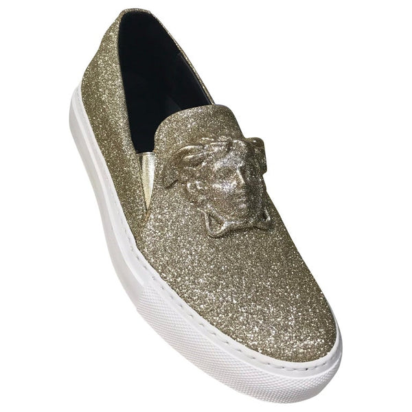 New Versace Palazzo Low-Top Sneakers In Gold Glitter 37.5 - 7.5