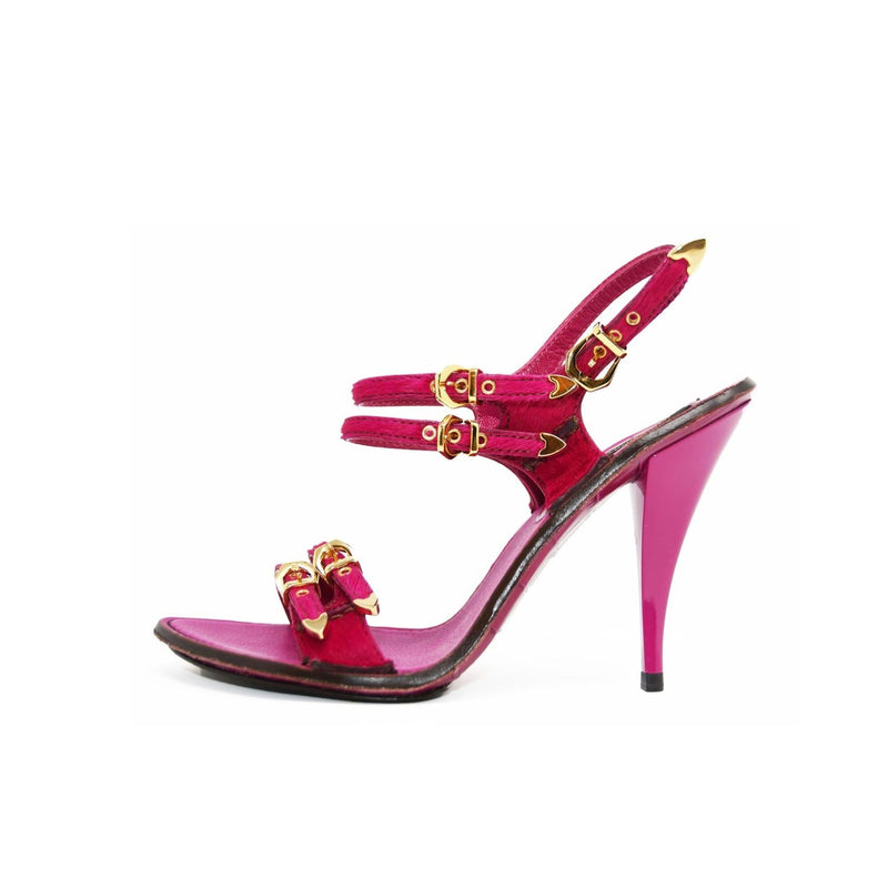 Louis Vuitton Fuchsia Sandal Heel with Alligator Embossed Sole