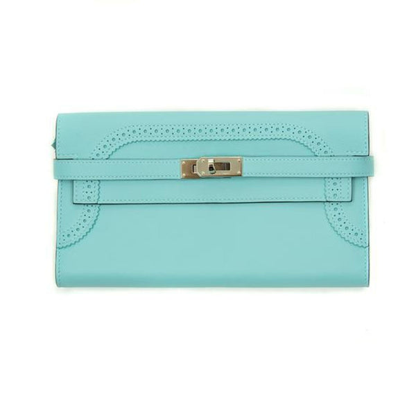 Hermes Kelly Ghillies Wallet Veau Swift Blue Atoll PHW