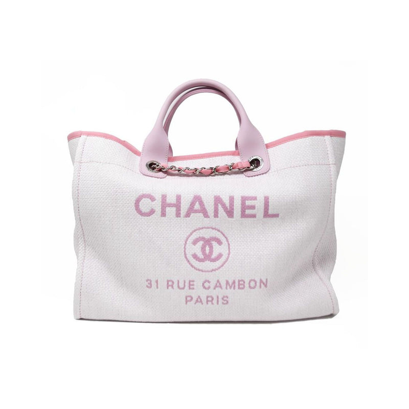 Chanel Deauville Large White & Pink Tote