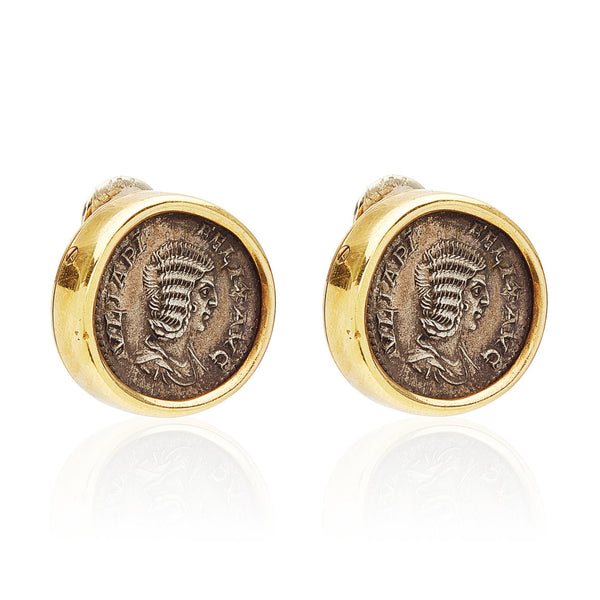 Bulgari 18k Gold Monete Earrings with Ancient Roman Coin Pendants