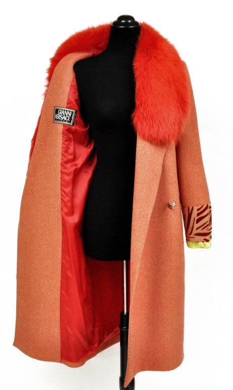 90's Vintage Gianni Versace Couture Coat with Fox Fur