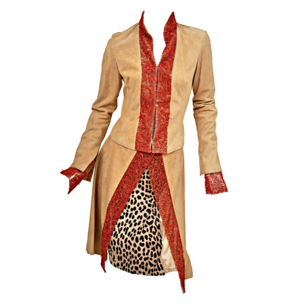 90-s Vintage Gianni Versace suede skirt suit with corals