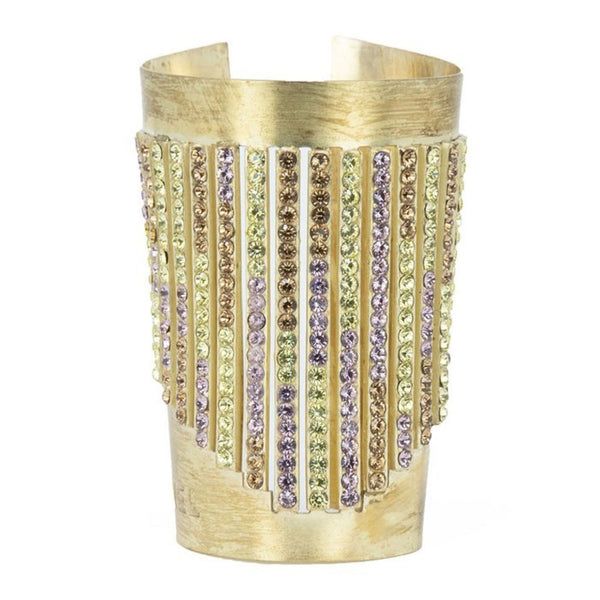 Chanel Gold Cuff with Multicolored Rhinestones