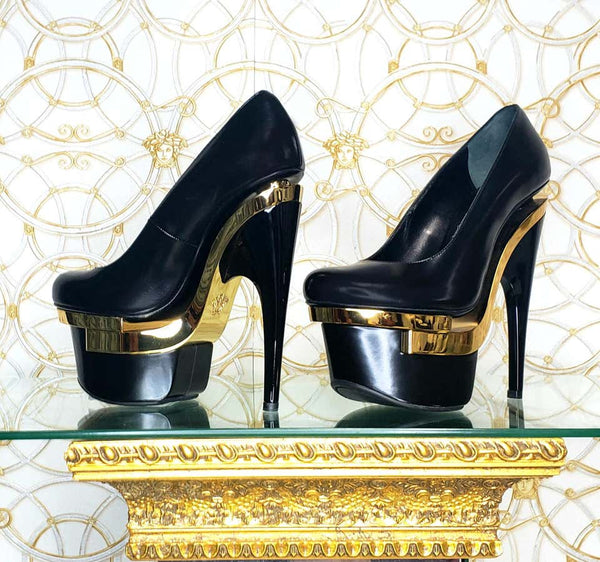 VERSACE BLACK LEATHER TRIPLE PLATFORM PUMP Shoes