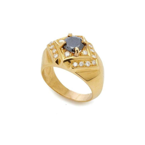 Black Diamond, Diamonds and Gold Ring