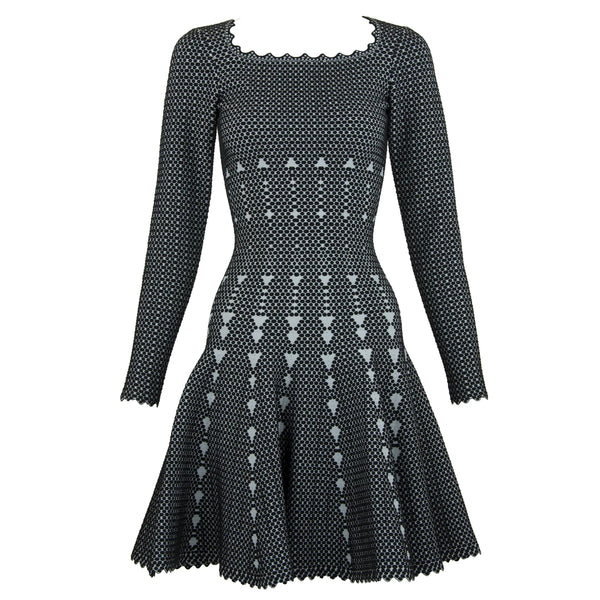 Alaia Black and Gray Knit Jacquard Fit & Flare Dress