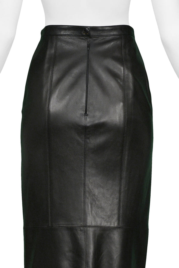 ALAIA BLACK LEATHER PLEATED SKIRT