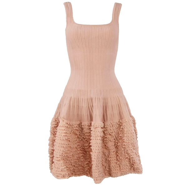 Alaia Blush Sleeveless Fit & Flare Dress