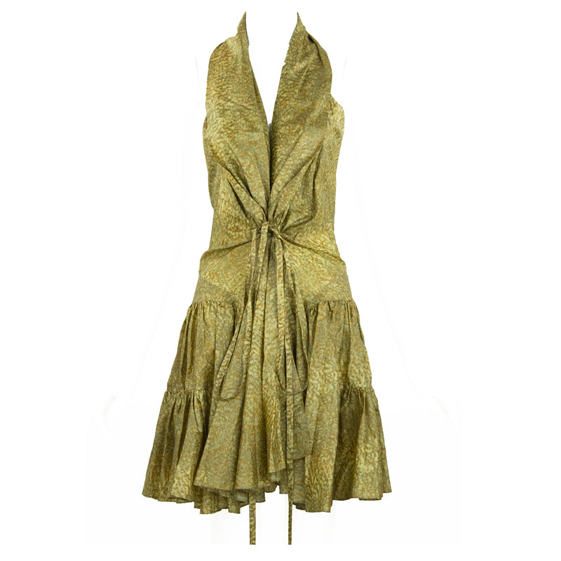 Alaia Green & Brown Printed Silk Tiered Dress