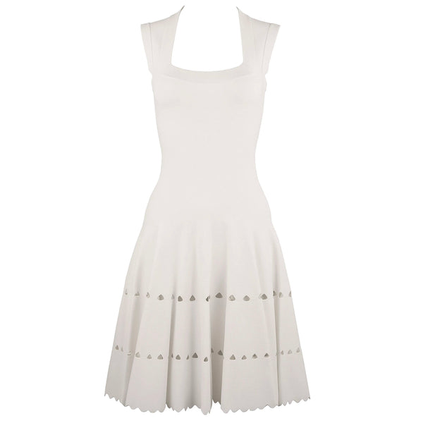 Alaia White Laser Cut Fit & Flare Dress