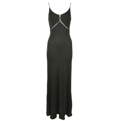 Armani Collection Black Column Gown with Lace Inserts