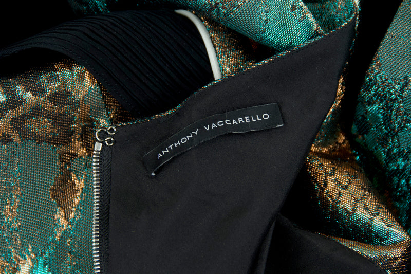 Anthony Vaccarello Green, Bronze & Black Metallic Dress