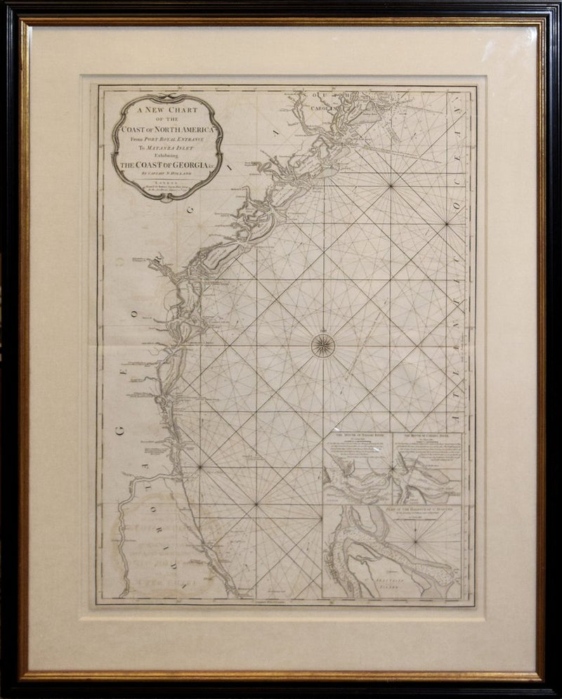 CAPTAIN N. HOLLAND (SURVEYOR), A NEW CHART OF THE COAST OF NORTH AMERICA FROM PORT ROYAL ENTRANCE TO MATANZA INLET EXHIBITING THE COAST OF GEORGIA