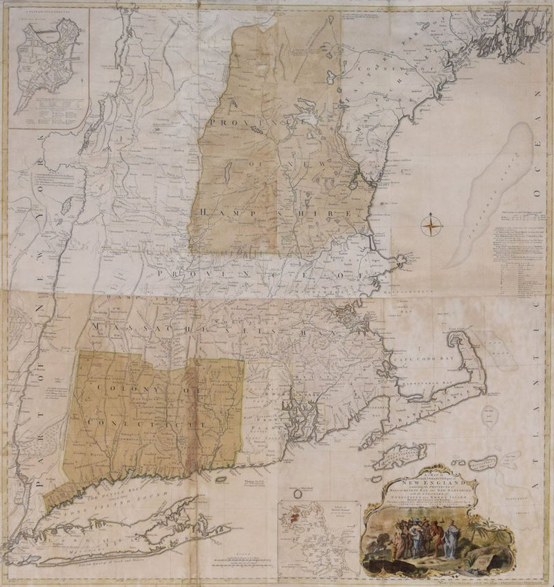 THOMAS JEFFERYS (1695 - 1771), AFTER BRADDOCK MEAD (C. 1688 - 1757) A MAP OF THE MOST INHABITED PART OF NEW ENGLAND CONTAINING THE PROVINCE OF MASSACHUSETTS BAY AND NEW HAMPSHIRE WITH THE COLONIES OF CONNECTICUT AND RHODE ISLAND… I