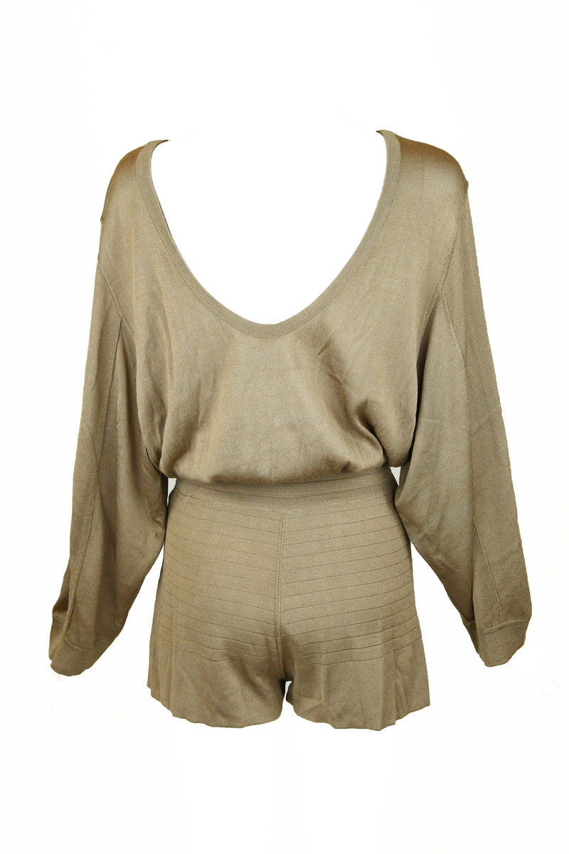 Vintage Alaia Taupe Long Sleeve Romper