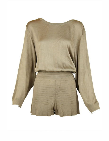 Vintage Alaia Taupe Long Sleeve Romper - Size XS