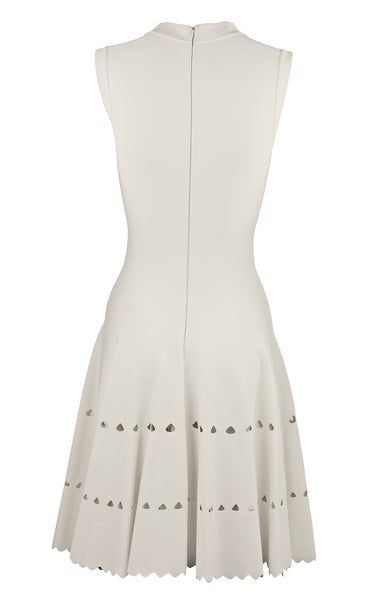 Alaia White Laser Cut Fit & Flare Dress - Size FR 36