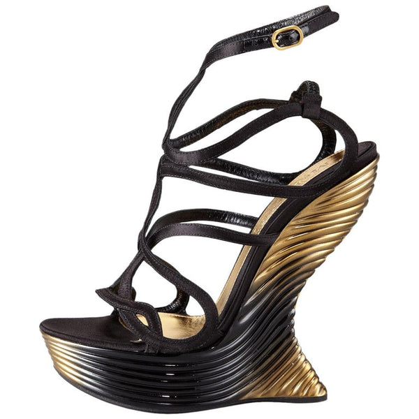 Alexander McQueen Oyster Shell Wedge Sandals
